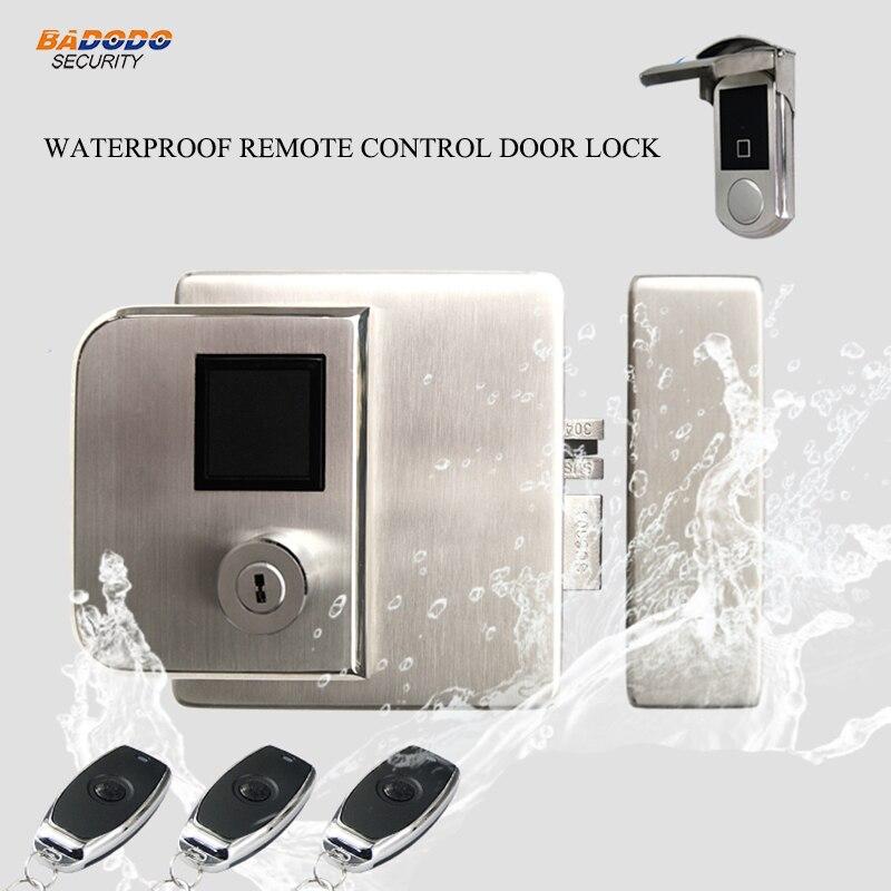 Wireless waterproof remote control door lock outdoor used electric door lock support IC RFID card reader