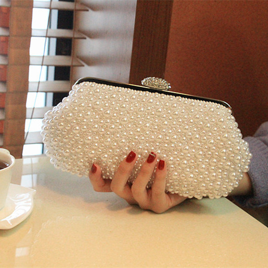 Ladies Crystal Pearl Clutch Fashion Women Sparkly Evening Bags Bridal Wedding Party Purses Chain Handbag Bolsas mujer 2017