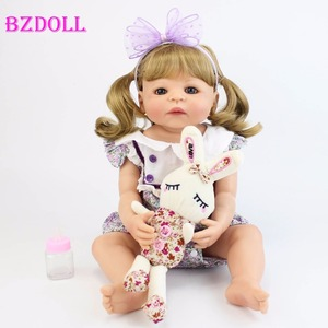 55cm Full Silicone Reborn Baby Doll Toy For Girl Vinyl Newborn Blonde Princess Babies Bebe Bathe Toy Birthday Gift Xmas Present(China)