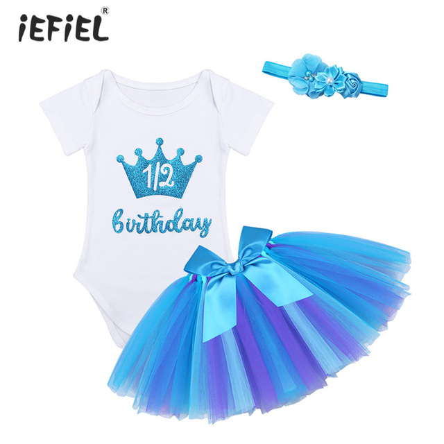 e0e8dddc6db Infant Baby Girls Outfit Short Sleeves Glittery Crown Letters Printed 1 2  Birthday Romper with Tutu Skirt Headband Set SZ 3-12 M