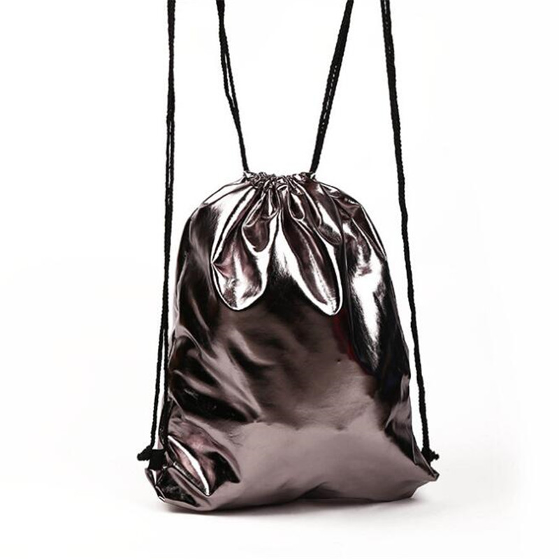 Drawstring Bag With PU Leather Strap Pocket To Hold Solid Color Sports Bag Small Mini Travel Bags