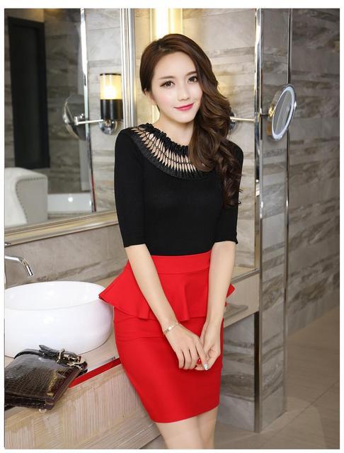 Elegante Abrir Slit Saias Plus Size Mulheres Lápis Saias Babados 2016 Verão Moda Coreano Senhoras Casuais Bodycon Saias