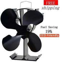 Ventilador de estufa con 4 cuchillas (negro) + 19% ventilador de estufa de ahorro de combustible para quemador de madera/chimenea-respetuoso con el medio ambiente