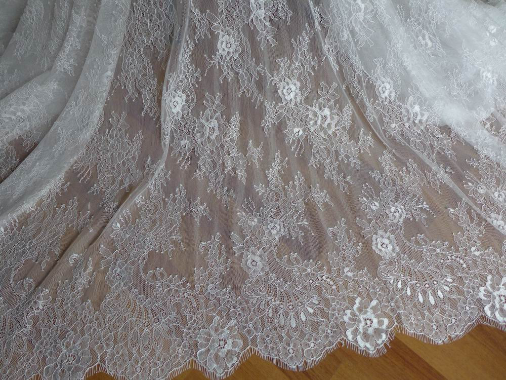 Buy soft white french chantilly lace for Wedding dress lace fabric