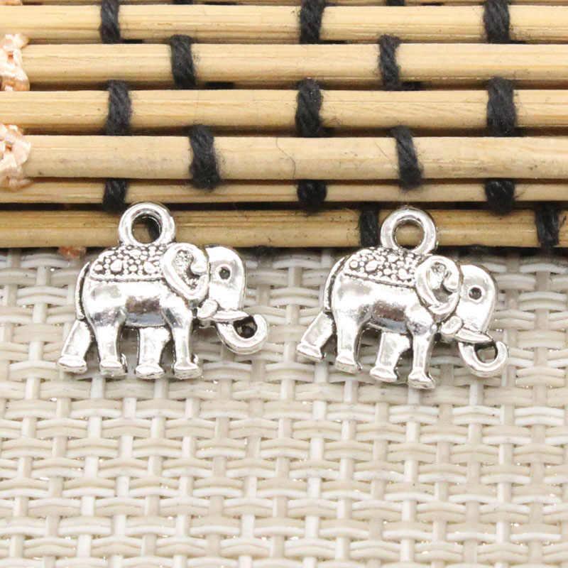 10 Buah Hiasan Dua Sisi Gajah 13X12 Mm Perak Tibet Warna Liontin Antik Diseduh Sendiri Membuat Perhiasan Kerajinan Buatan Tangan