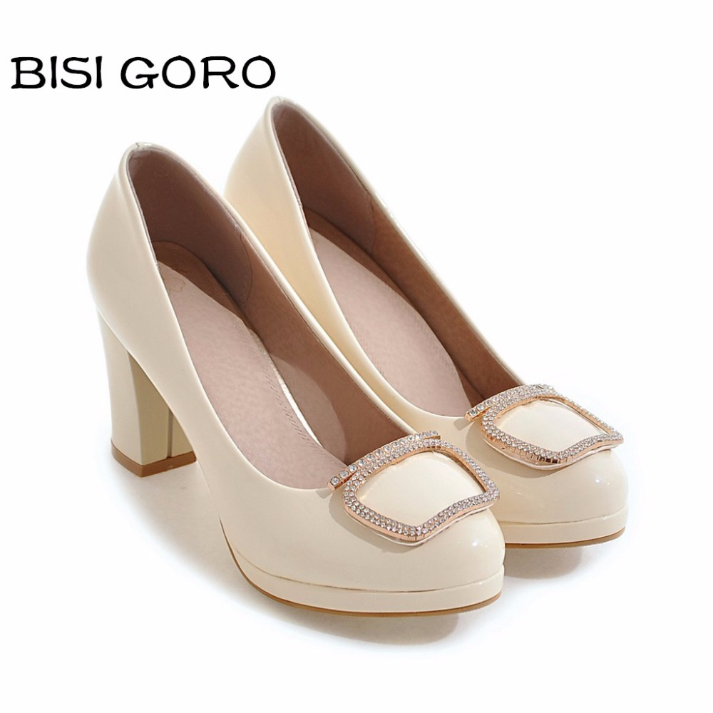 ФОТО BISI GORO size 34-43 women pumps high heels party shoes for women platform black pumps shoes women stiletto heels bridal shoes
