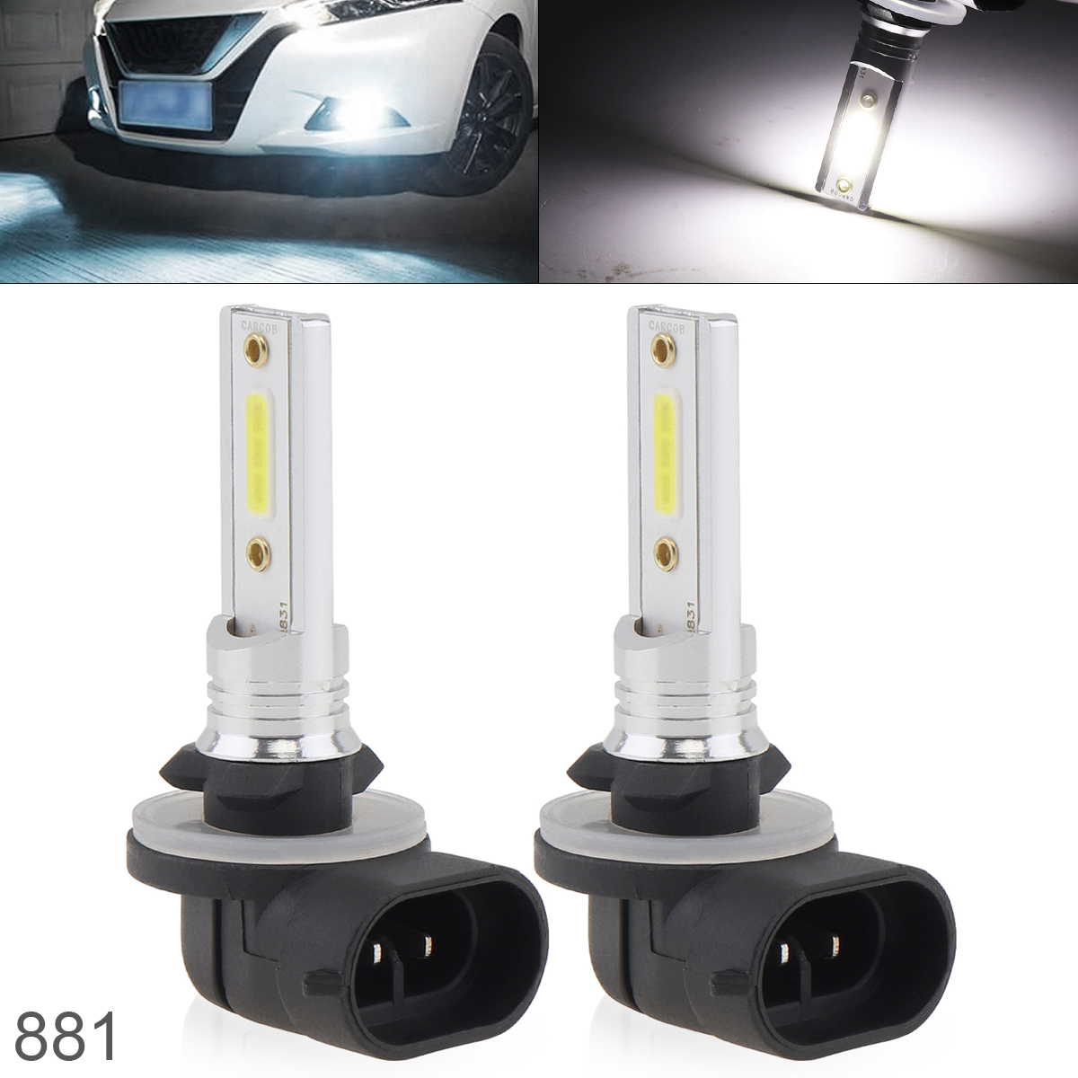 2pcs 12V 881 COB SMD Lights 1200LM 6500K 7500K White Driving Running Car Lamp Auto Light
