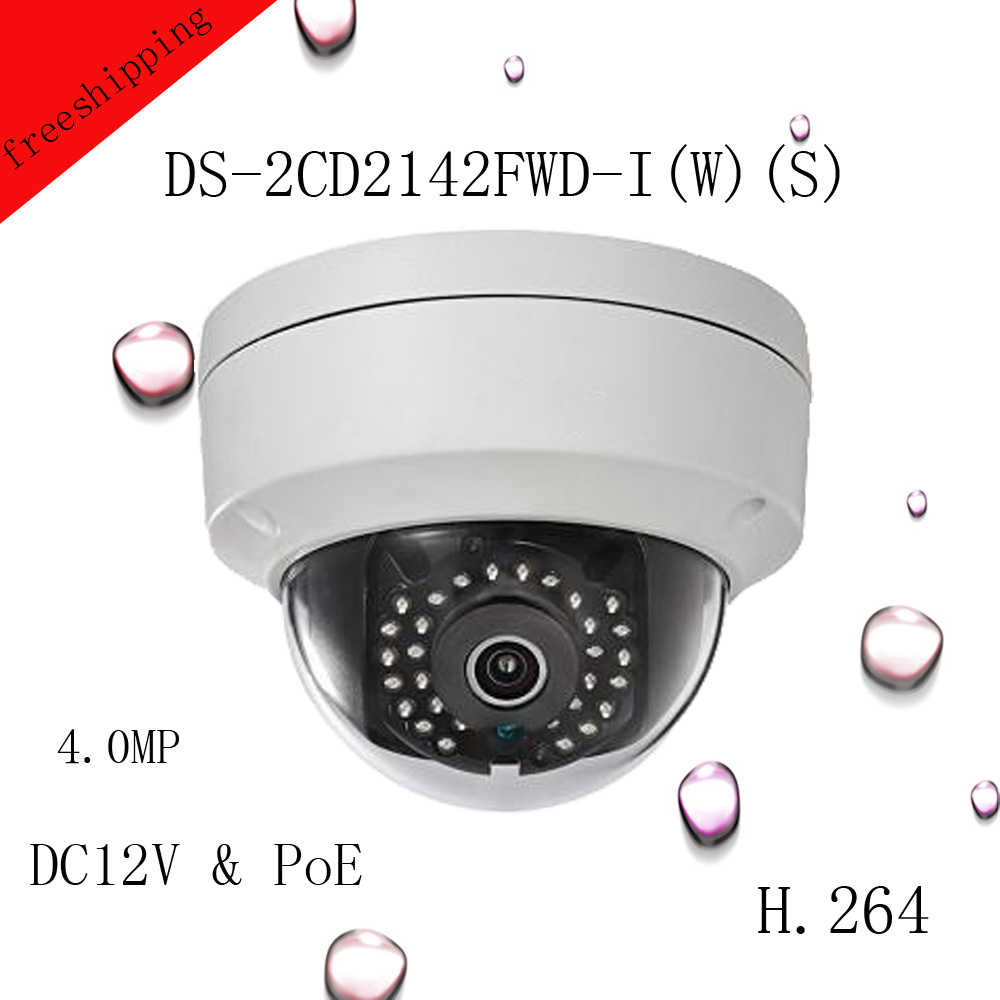 Free shipping 2016 NEW4MP Mini POE Camera DS-2CD2142FWD-I(W)(S) 4MP WDR Fixed Dome Network Camera free shipping in stock new arrival english version ds 2cd2142fwd iws 4mp wdr fixed dome with wifi network camera