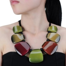 New Arrival Fashion Jewelry Rope Chain Resin Colorful Pendant Collar Choker Necklace Girls