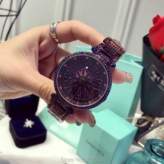 Yeni moda mor lüks paslanmaz çelik İzle Lady Shining rotasyon elbise İzle büyük elmas taş kol saatleri saatler