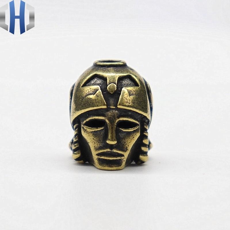 Brass Japanese Helmet Knife Pendant Pure Copper Retro Flashlight Accessories Paracord Beads DIY Gadget Umbrella Rope Drop Beads