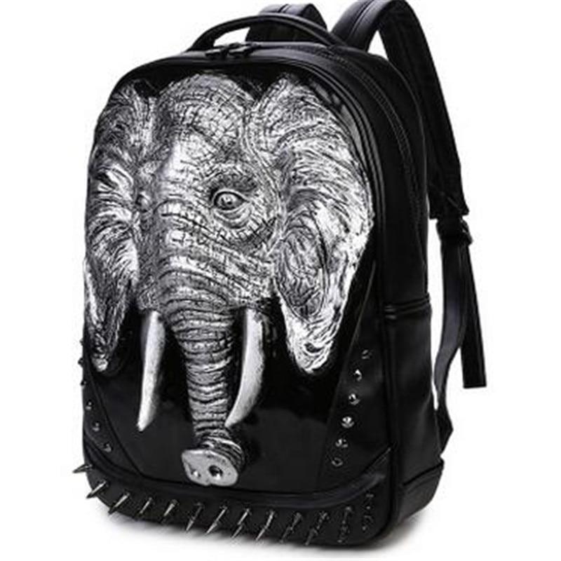 3 Color PU Leather Men Backpack Unique 3D Travel Backpack Punk Rivet Elephants Printing 15.6 Inch Waterproof Men Laptop Bags 3