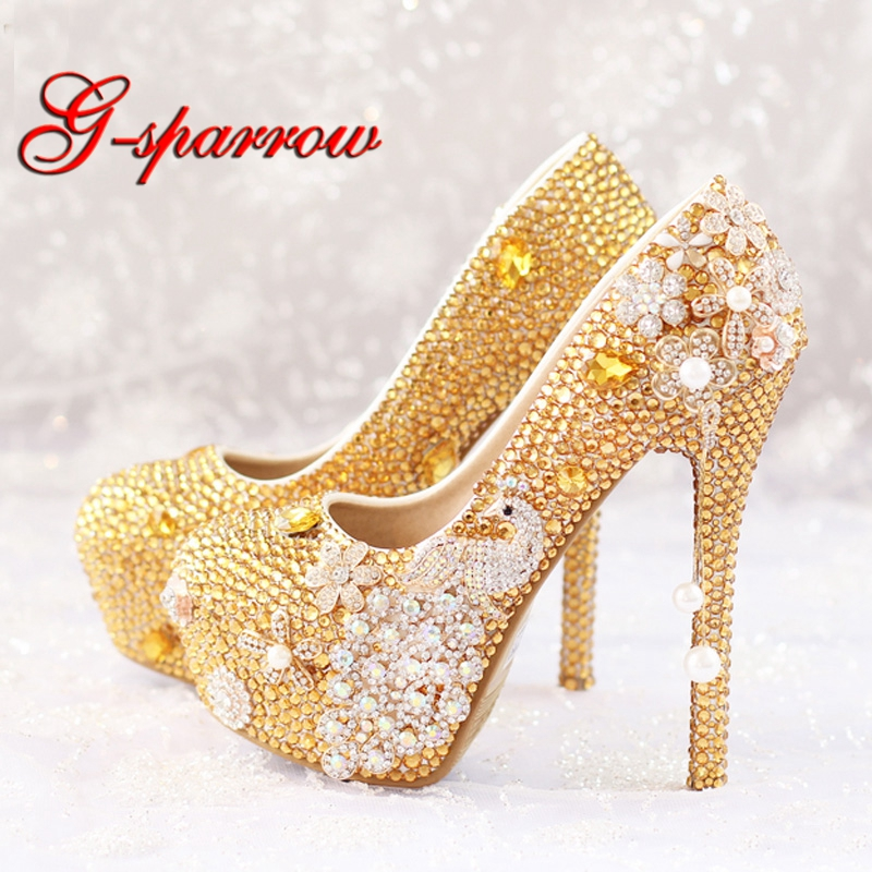 Glitter Gold Rhinestone Wedding Shoes 5 Inches High Heel Party Pumps Bling Diamond Evening Prom Heels Celebrity Function Shoes aiweiyi women high heels prom wedding shoes ladies gold silver glitter rhinestone bridal shoes stiletto high heel party pumps