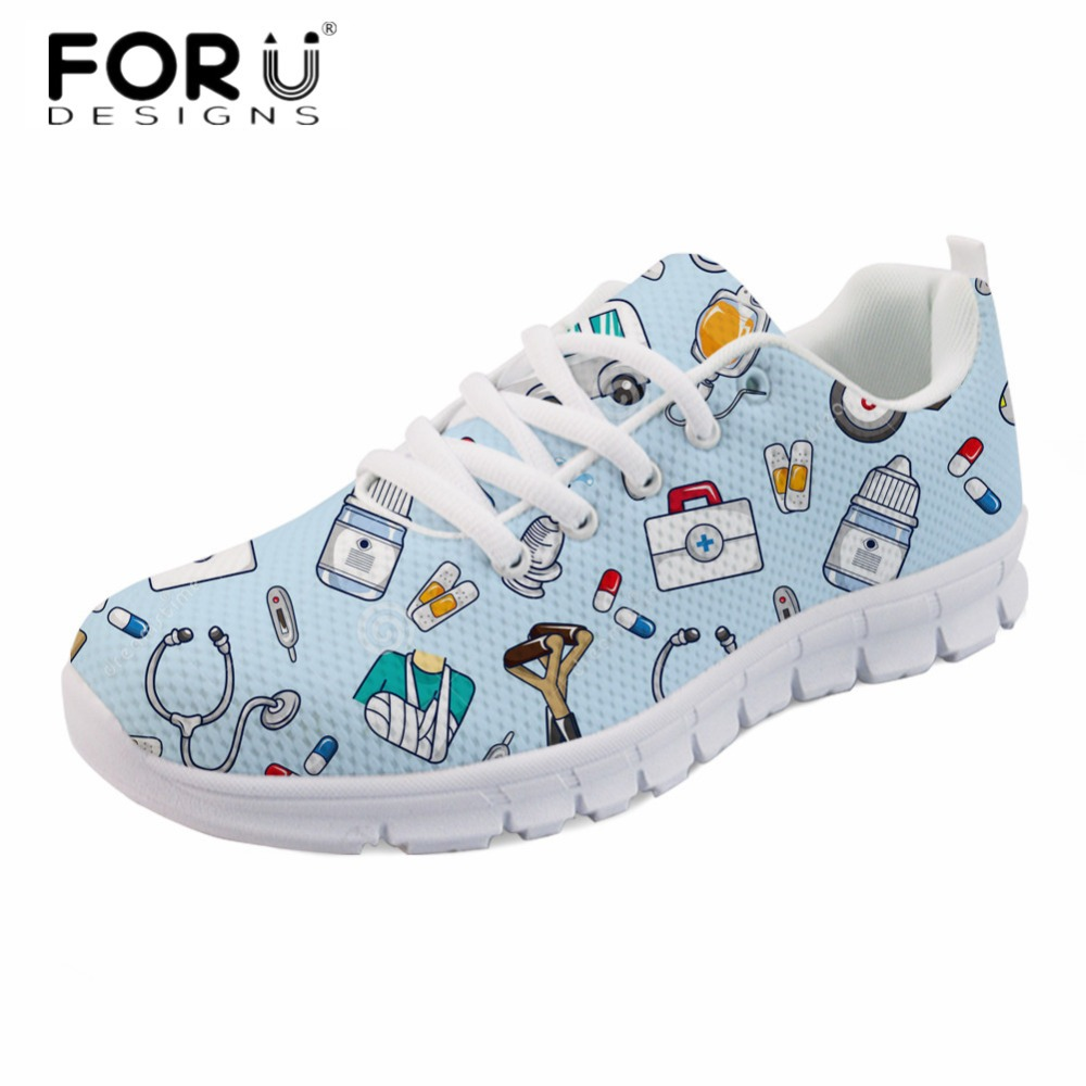 FORUDESIGNS Fashion Women Casual Flats Cute Cartoon Nurse Printing Light Comfortable Flat Shoes Ladies Spring Air Mesh Sneakers instantarts fashion women flats cute cartoon dental equipment pattern pink sneakers woman breathable comfortable mesh flat shoes