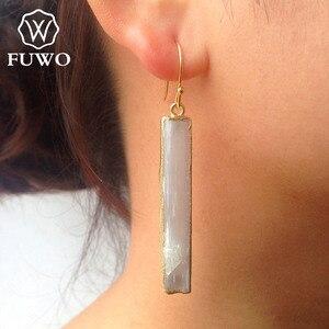 Image 5 - Fuwo brincos de selenite natural 24k, joias elegantes com lâmina de cristal, prato de ouro, selenite