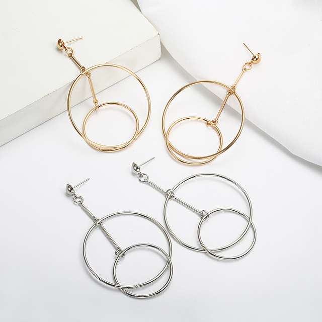 2019 Spring Round  Big Vintage Earrings for women gold color Green wafer Metal Drop Shiny Ethnic Jewelry Gift