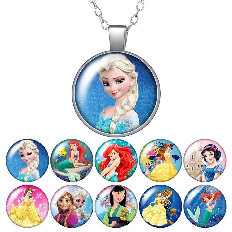 New Princesses Little Mermaid Snow White Photo Silver/Bronze Pendant Necklace 25mm Glass Cabochon Girl Jewelry Birthday Gift