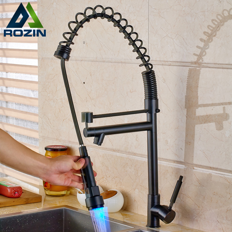 Oil Rubbed Black Heighten Kitchen Sink Faucet One Handle Single Hole Spring LED light Kitchen Mixers