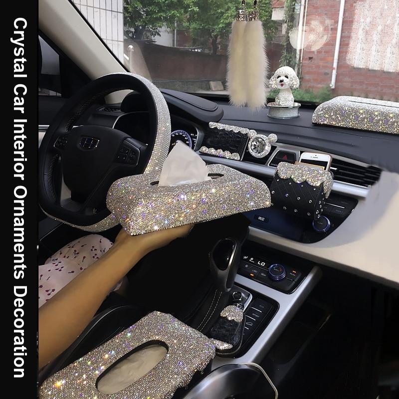 Creative Bling Crystal Diamond Car Ornaments Decoration Car Air Freshener Vent Phone Holder Tissue Box Car Interior Accessories Ornaments     - title=
