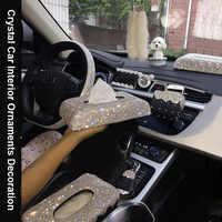 Kreative Bling Kristall Diamant Auto Ornamente Dekoration Auto Lufterfrischer Vent Telefon Halter Tissue Box Auto Innen Zubehör