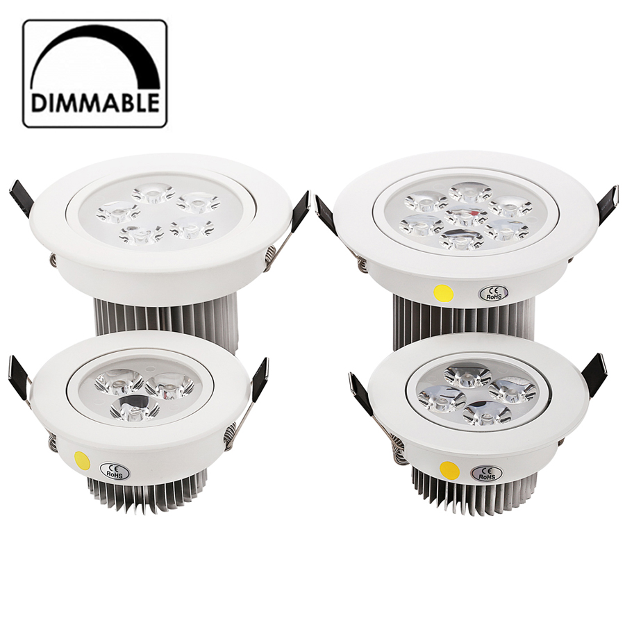 4pcs/lot 3W 4W 5W 7W downlight Epistar LED ceiling lamp Recessed Light Aluminum 110V/220V for home illumination