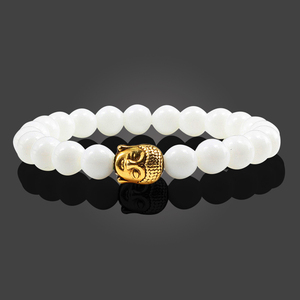Image 5 - Trendy Natural Stone Lava Strand Bracelets Metal Buddha Head Beaded Charm Prayer Bracelets&Bangles Jewelry Handmade Gifts