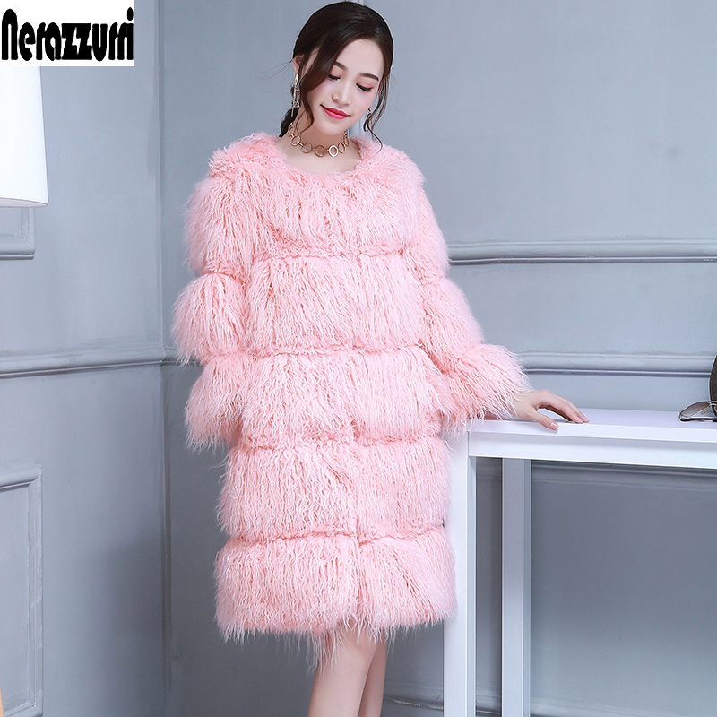 Nerazzurri Winter Pink Cute Faux Fur Coat Women Long Hairy Striped Plus Size Fake Fur Jacket 6xl High Quality Women Fashion 2018