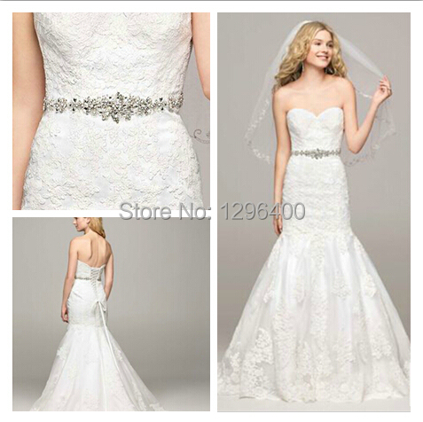 Free Shipping 2014 NEW!Lace Sweetheart Trumpet Gown with Beaded Sash ...