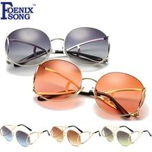 FOENIXSONG Hot Big Round Frame Women Sunglasses Brand Men Gradient UV400 Mirror Lens Sun Glasses Gafas Goggle Eyewear KC-AB260-2(China (Mainland))