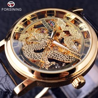 Forsining Chinese Dragon Skeleton Design Transaprent Case Gold Watch Mens Watches Top Brand Luxury Mechanical Male