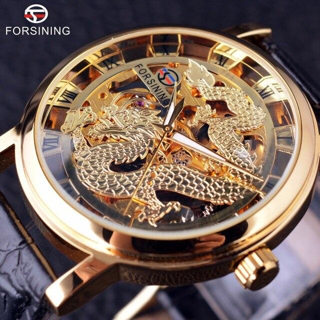 c3679da1f42 Forsining Dragão Chinês Projeto de Esqueleto Transparente Caso Relógio de  Ouro Dos Homens Relógios Top Marca