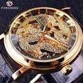 Forsining dragón chino diseño esquelético transparente caja oro reloj para hombre relojes de primeras marcas de lujo mecánico reloj de pulsera masculino