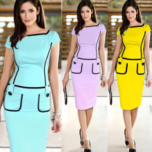 Womens Elegant Colorblock Patchwork Tartan Check Plaid Wear to Work Business OL Party Bodycon Stretch Dress