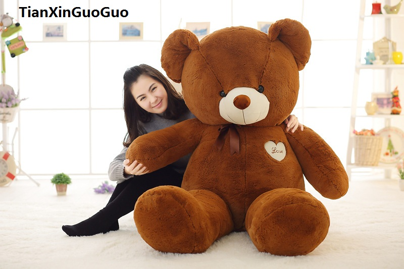 stuffed toy huge 140cm love heart dark brown teddy bear plush toy silk belt bear soft doll hugging pillow birthday gift s0371 stuffed toy lovely scarf teddy bear plush toy huge size 170cm dark brown bear hugging pillow surprised christmas gift h448
