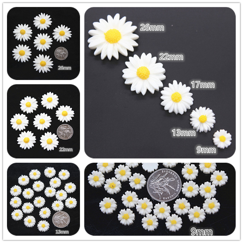 9mm/13mm/22mm/26mm White Daisy Flower Resin Flatback Cabochon DIY Jewelry Phone Decoration