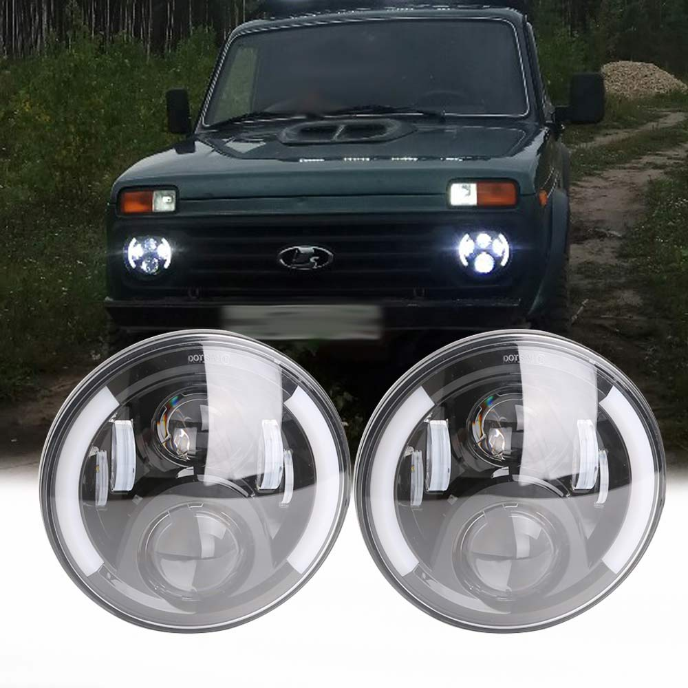 2Psc 7 Inch LED Headlight H4 Hi Lo With Halo Angel Eyes For Lada niva 4x4