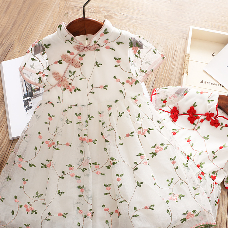 girls princess dresses 2018 new summer girls wedding/party dress sleeveless floral embroidery children costume girl cheongsam