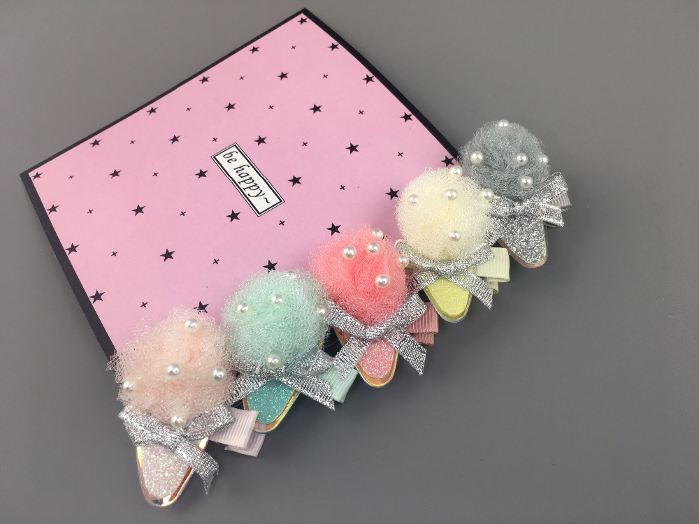 Boutique 10pcs Fashion Cute Gauze Pom Pom Doublecone Hairpins Solid Kawaii IceCream Cone Hair Clips Headware Accessories