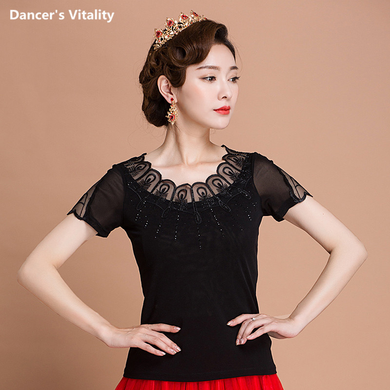 cf7ef515434 New sexy black Ballroom Modern Latin dance clothes top for women female girl  dancerwears long-sleeve ...