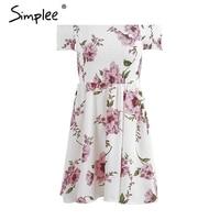 Simplee Side Split Off Shoulder Print Short Dress Women High Waist Pleated Maxi Dress Elegant Boho