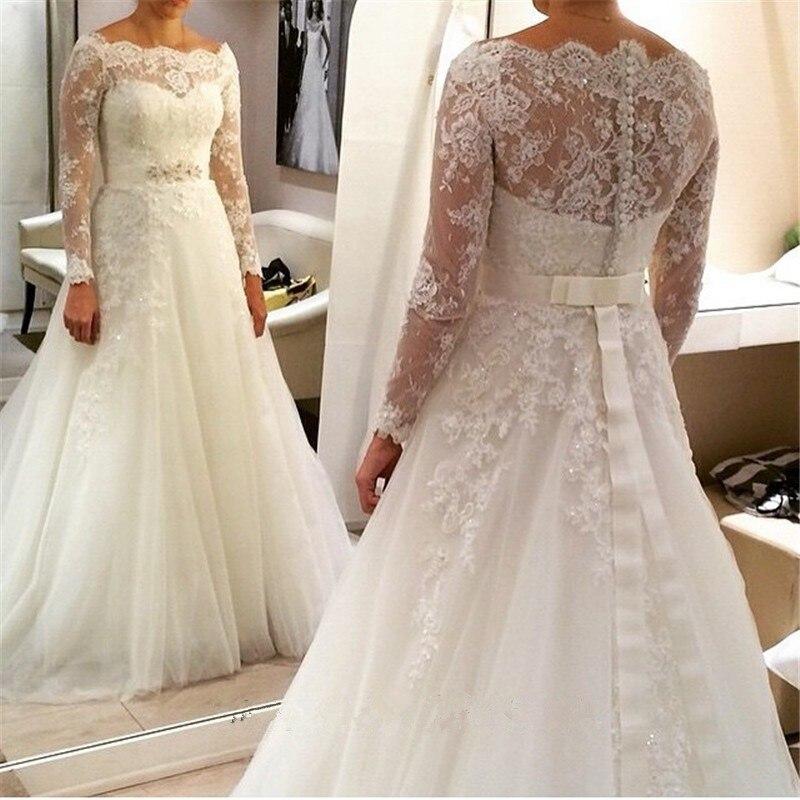 2016 New Style Plus Size Wedding Dress Long Sleeve With Bow Back