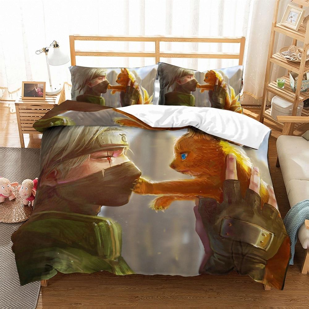Fashion Anime Naruto Bedding Set Cute Cat Duvet Cover Set 3 Pieces Cartoon Microfiber Bed Linen Set With 2 Pillowcase Bedclothes