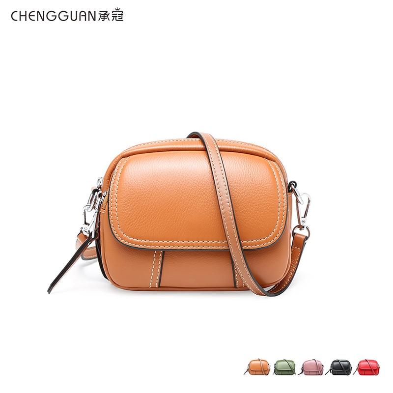 Fashion quality chengguan 1024 genuine leather shoulder bag exquisite workmanship light mini Satchel delicate for women