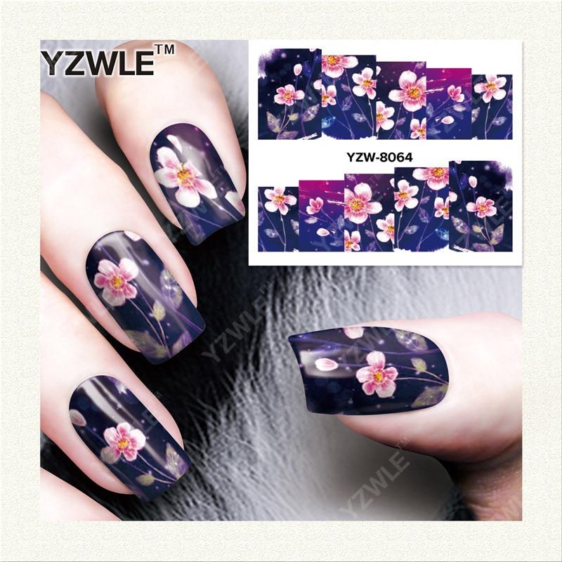 YWK 1 Sheet DIY Designer Water Transfer Nails Art Sticker / Nail Water Decals / Nail Stickers Accessories (YZW-8064) fwc hot diy designs nail art beauty flower water stickers nails decoration decals tools