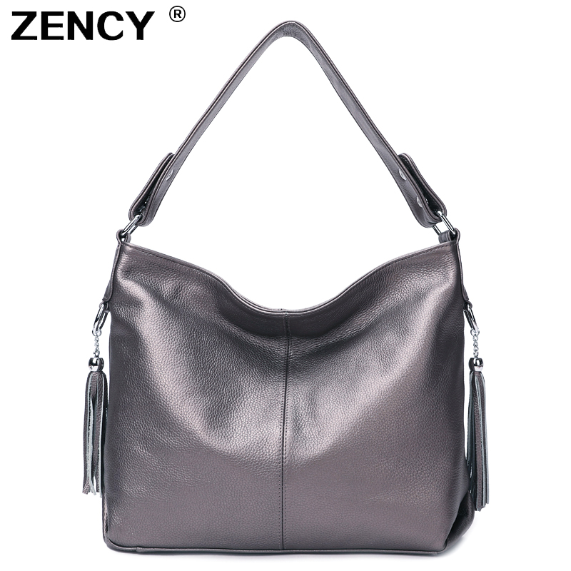 ZENCY 100 Genuine Cow Leather Women Handbag First Layer Cowhide Long Handle Messenger Shoulder Bag Satchel