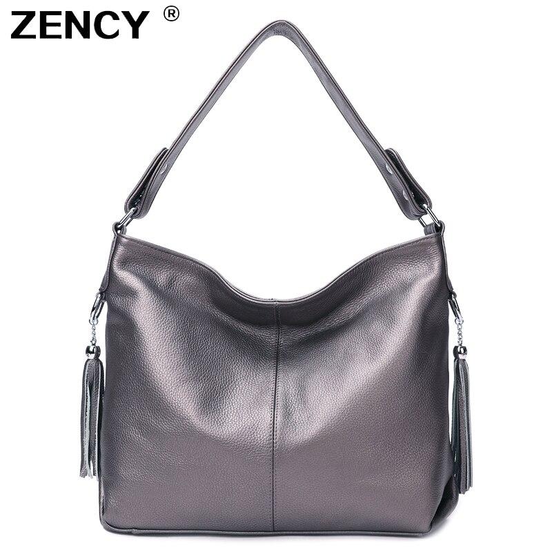 10 couleur 100% en cuir véritable femmes sac à main première couche en cuir de vache longue poignée Messenger sac à bandoulière sacoche blanc argent sacs