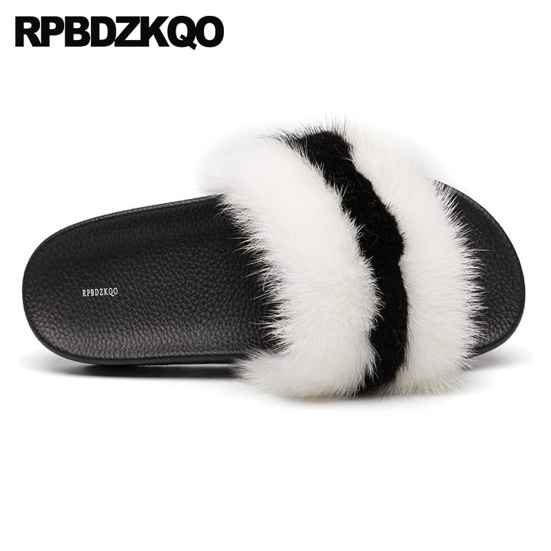 Luxury Fur Women Shoes 2018 Spring Black And White Slides Wide Fit Flat Fluffy Slip On Sandals Slippers Designer Ladies Furry black flat casual designer sandals women luxury 2017 summer slip on embellished pearl soft slippers slides shoes open toe metal