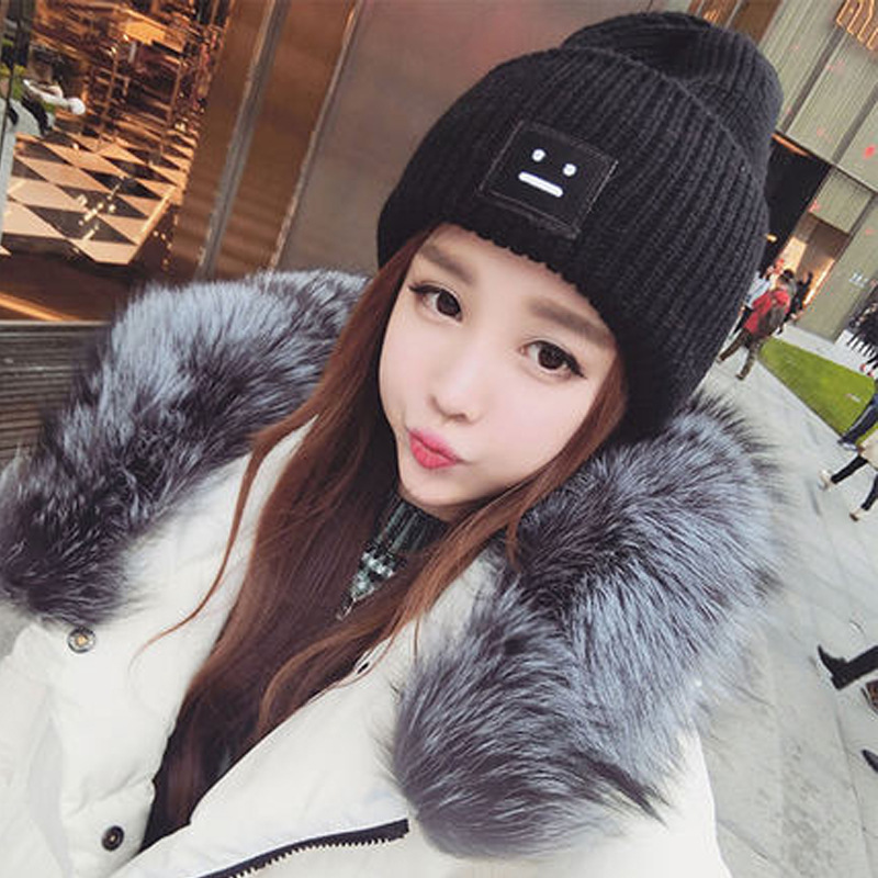 Lady's fur lining Thicken Skullies Winter Wool Knitted Hat Male Beanies Cap Casual Solid Color Simple Hats For Women skullies