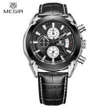 Megir biznesu Prawdziwej Skóry Zegarki Men Casual-zegarek Kwarcowy Chronograf Mężczyźni Kwarcowe Zegarki Luksusowe Znane Marki Zegarek Nowy