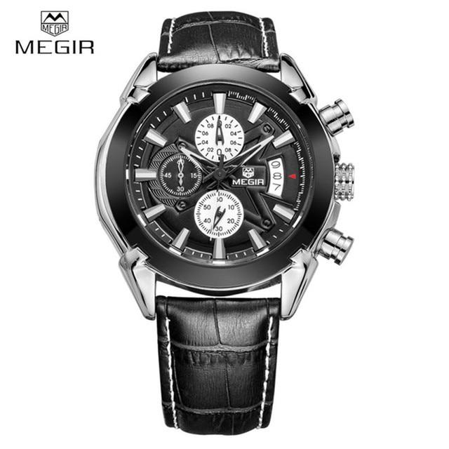 b9e9db2fbcc9 Negocio Cuero auténtico megir relojes hombres casual reloj de cuarzo reloj  cronógrafo cuarzo relojes marca de